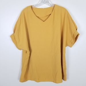 Mustard Golden Yellow Brand Unknown Blouse Top L